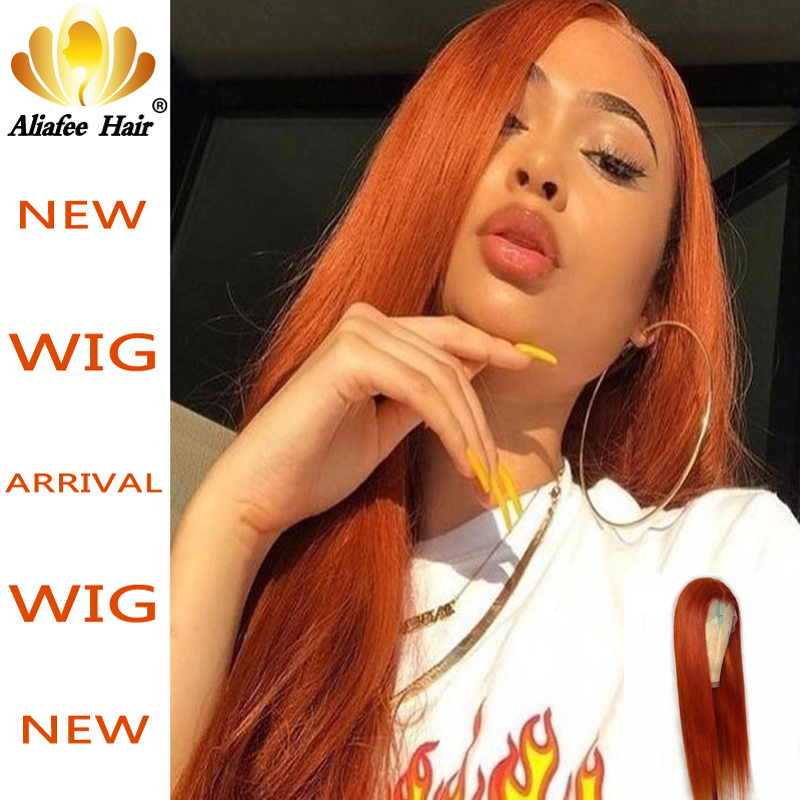 Ginger Orange Color Straight Wig Glueless 13x4 Lace Front Human Hair Wig 150% Density Remy Hair Wig With Baby Hair For Women