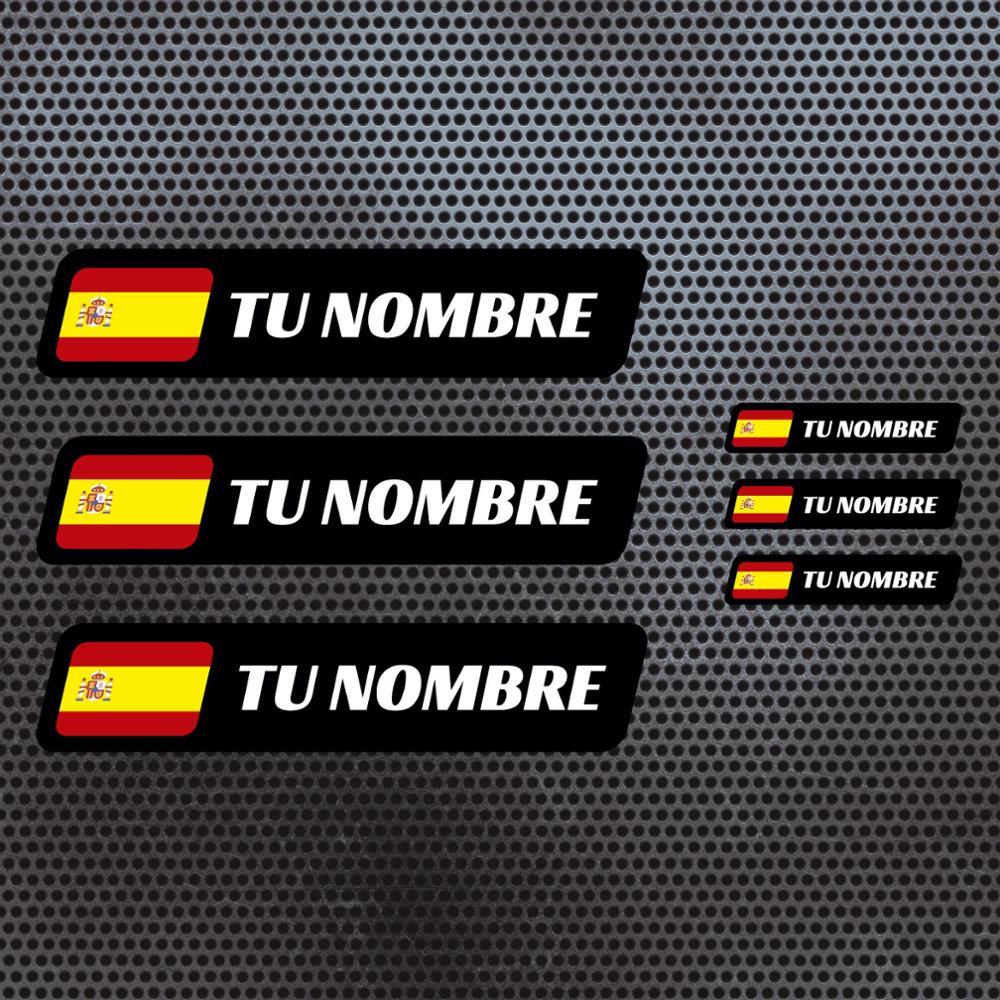 6 x drapeau espagne nom autocollant vinyle casque vtt vélo personnalisable