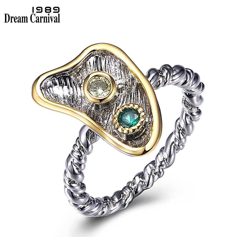 DreamCarnival 1989 New Arrivals Super Cute Fashion Rings for Women Twisted Band Green Olivine Zircon Hot Sale Wholesale WA11606(China)