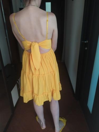Boho Summer Dress Women Sexy Strappy Lace White Mini Dresses Female Ladies Beach V Neck Party Sundress Black Yellow Pink|Dresses|   - AliExpress
