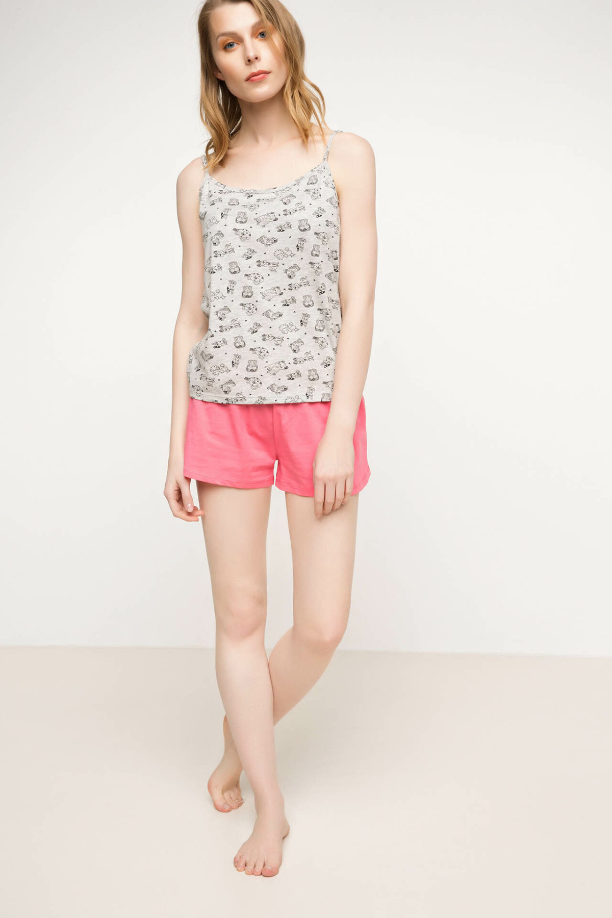 DeFacto Fashion Woman Knitted Sets Female Casual Print Sling Tank Shorts Sets High Quality Tops Short Pants New - H0982AZ17SM