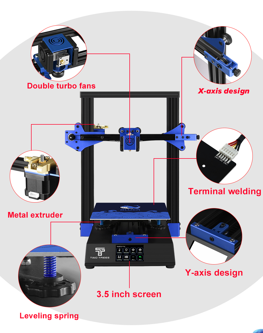 TWO TREES 3D Printer With 5-inch Color Touch Screen For Education Use