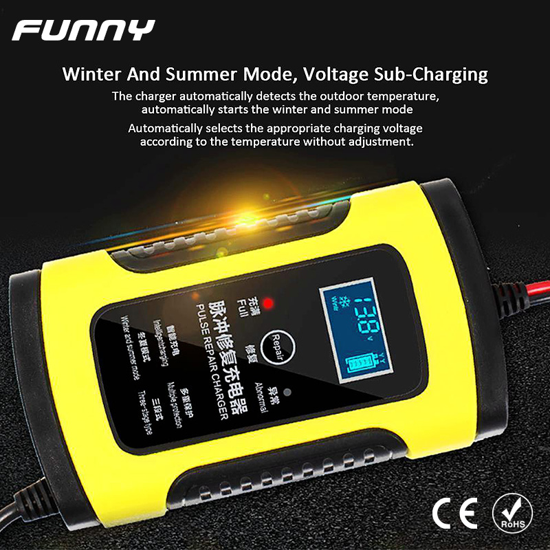 12V <font><b>Car</b></font> <font><b>Battery</b></font> <font><b>Charger</b></font> 6A Full Automatic Intelligent Fast Power <font><b>Pulse</b></font> <font><b>Repair</b></font> <font><b>Chargers</b></font> Digital LCD Display Wet Dry Lead Acid image