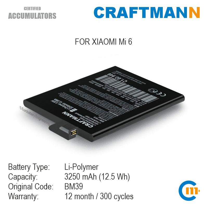 Batterie 3250mAh für XIAOMI Mi 6 (BM39)