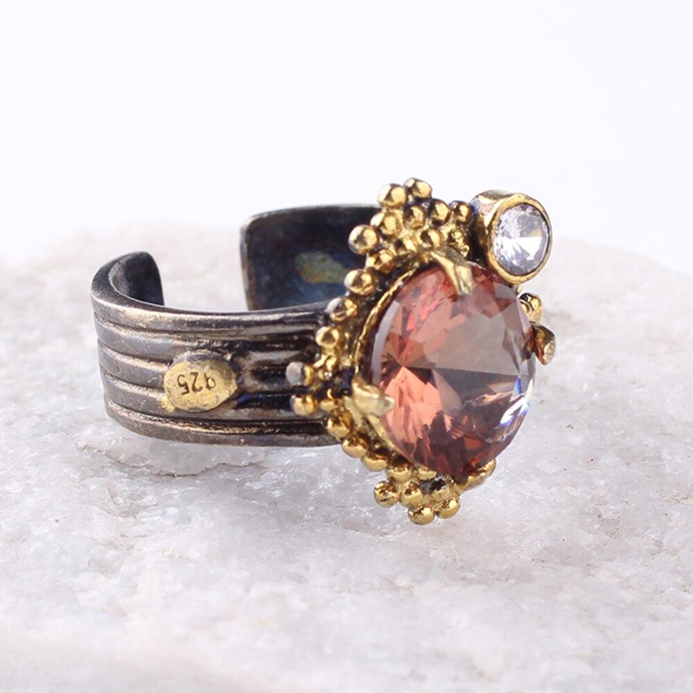 Fait à la main femmes 925 en argent Sterling 18K plaqué or couleur changeante Zultanite réglable diaspora anneau