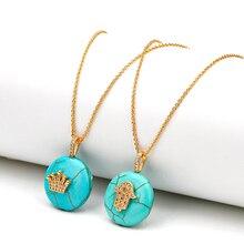 MEIBEADS CZ Piedra Natural 20mm turquesas verdes Hamsa mano corona amuletos contra el mal de ojo collares colgantes para las joyas de las mujeres
