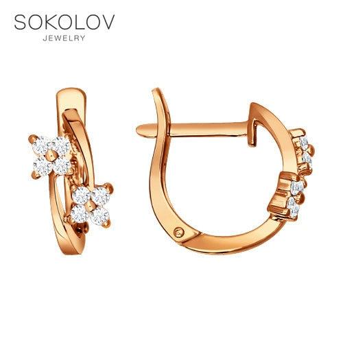 Earrings SOKOLOV Made Of Gilded Silver With Cubic Zirkonia Fashion Jewelry 925 Women's/men's, Male/female