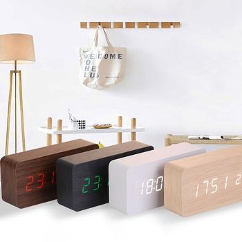 Kreatywny budzik drewniany cyfrowy budzik LED zegar zasilany baterią sterowanie głosem zegar elektroniczny dekoracja stołu tanie i dobre opinie CN (pochodzenie) SQUARE DIGITAL Zegarki z alarmem LUMINOVA w starodawnym stylu Drewno drewniane AMERYKAŃSKI STYL Czujnik sterowania akustycznego