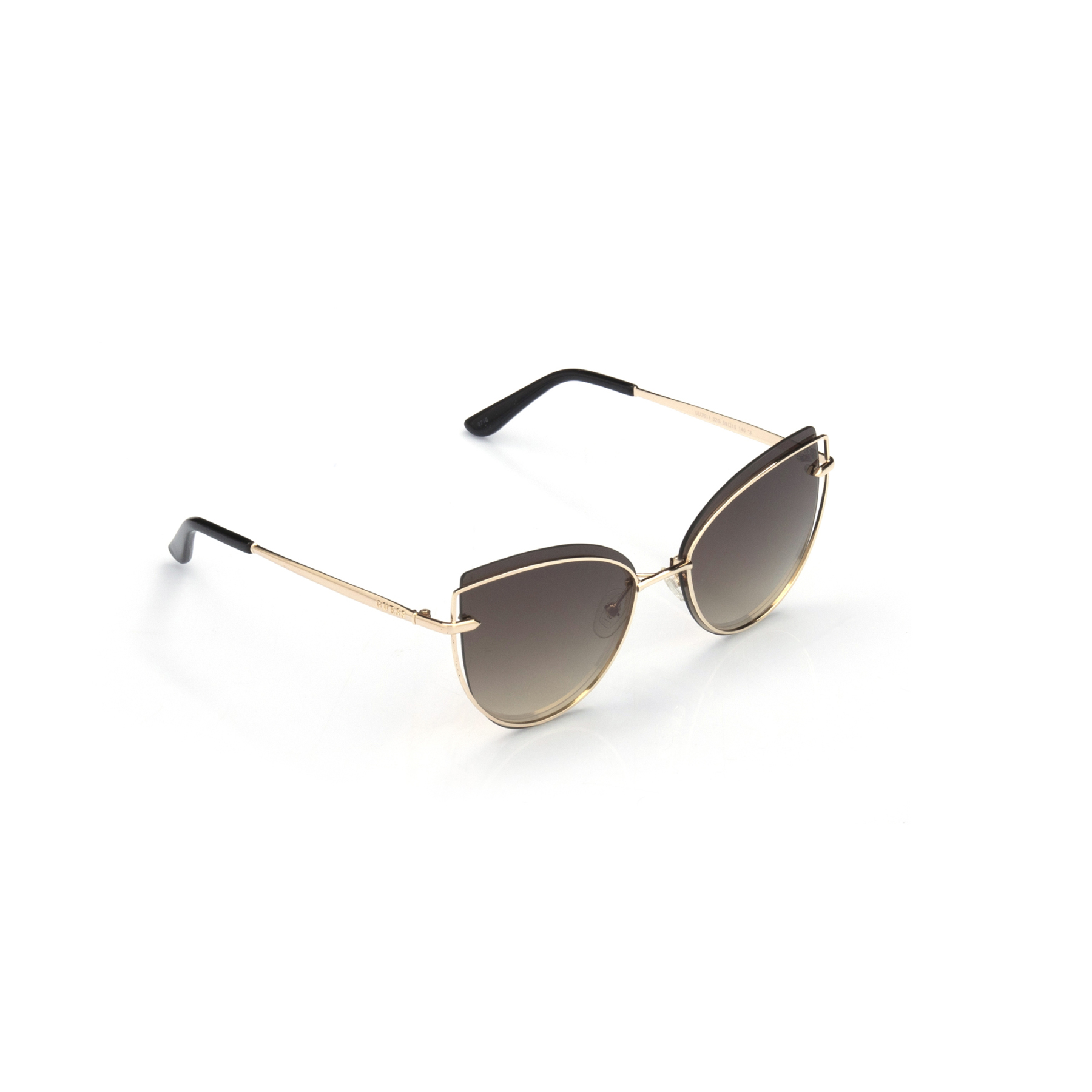 Women's sunglasses gu 7617 32g metal gold organic butterfly cat eye 59-15-140 guess