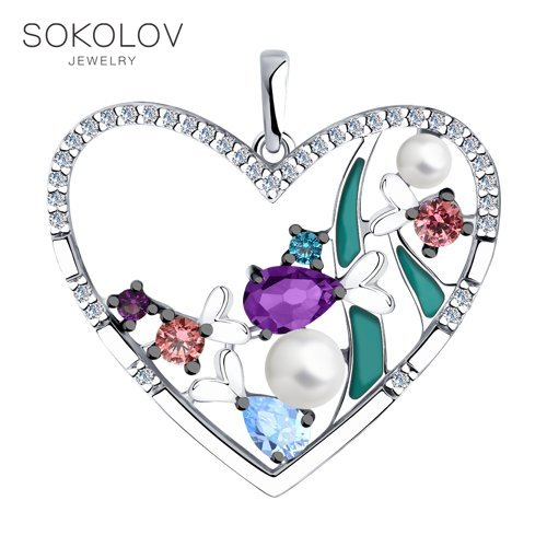 Pendant SOKOLOV From Silver With Enamel And Pearl And Cubic Zirkonia Fashion Jewelry 925 Women's/men's, Male/female