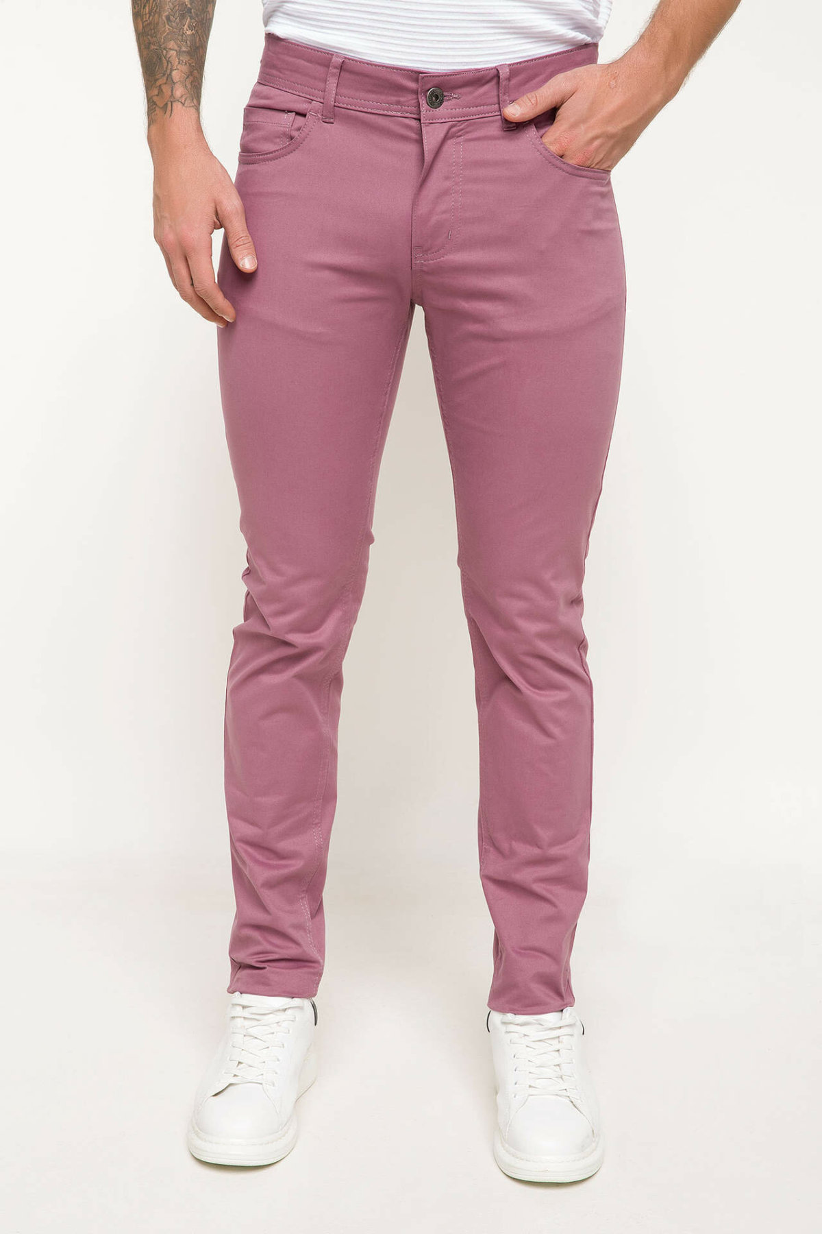 DeFacto Spring Pink Color Long Pants Men Casual Bottoms Men Trousers Male Skinny Fit Long Pants-I3518AZ18SP