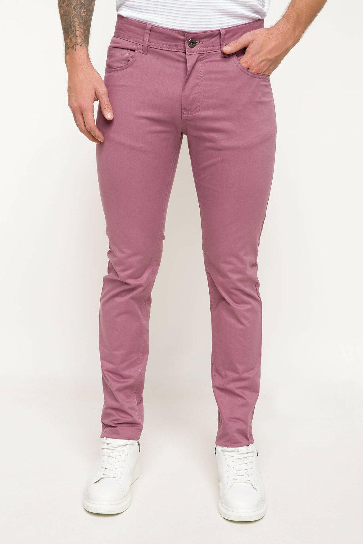 DeFacto Spring Pink Color Long Pants Men Casual Bottoms Men Trousers Male Skinny Fit Long Pants-I3518AZ18SP
