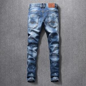 Image 2 - İtalyan tarzı moda erkek kot yüksek kaliteli Retro mavi yırtık kot uzun pantolon elastik Slim Fit Vintage tasarımcı pantolon Homme