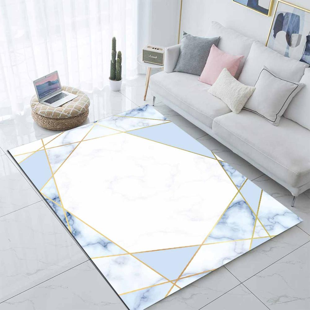 Else Blue White Geometric Lines Nordec 3d Print Non Slip Microfiber Living Room Modern Carpet Washable Area Rug Mat