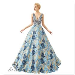 Nuovo 2020 St. Des Fiore a-Line con Scollo a V Che Borda Senza Maniche Elegante Bellezza Progettista di Lunghezza Del Pavimento Del Vestito da Sera Del Vestito da Partito