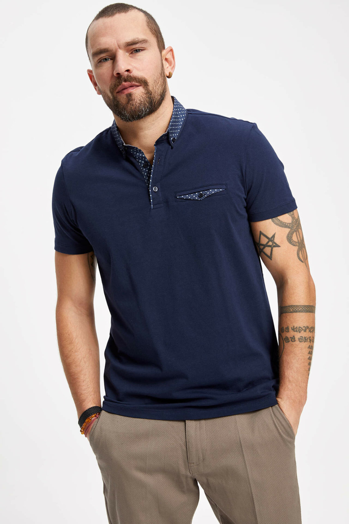 DeFacto Man Fashion Polo Shirt For Men's Casual Pure Color Loose Short Sleeves Male Comfort Tops Summer New - K1273AZ19SP