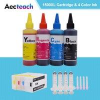 Aecteach PGI-1500 cartucho de tinta recarregável igp 1500 para canon maxify mb2050 mb2150 mb2350 mb2750 impressora + 400ml recarga tinta tintura
