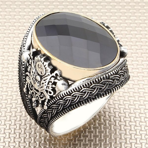 Turkish Jewelry 925 Sterling Silver Ring Real Gemstone Men Rings Male Jewelry Rings For Mens Rings Women Men's Rings Mens ring