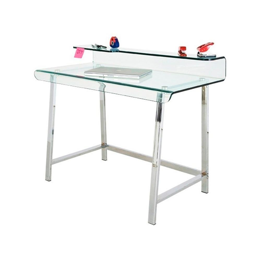 Computer Study table, stainless steel tubular frame and glass with