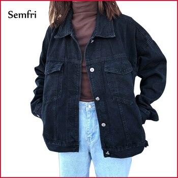 Semfri veste en jeans pour femme veste femme printemps 2019 veste en jean veste en jeans pour femme femmes noir Denim veste automne hiver manteau noir Jeans veste décontracté Harajuku Streetwear femmes vêtements coréen