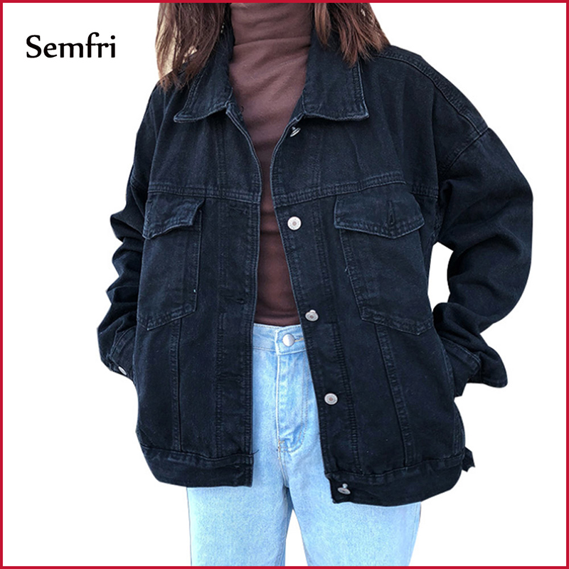 Semfri Jacket Women Black Denim Jacket Winter Jeans Coat Casual Harajuku Streetwear Female Vintage Jeans Coat