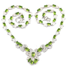 27x23mm Gorgeous Created Green Peridot White CZ Woman's Wedding Silver Necklace 18.5-19.5inch