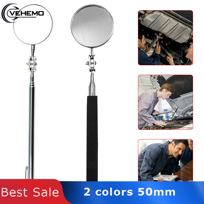 Vehemo Telescopic Inspection Mirror Inspectors Detection Mirror Universal Swivel Toolmakers Mechanist For Angle View Machinists
