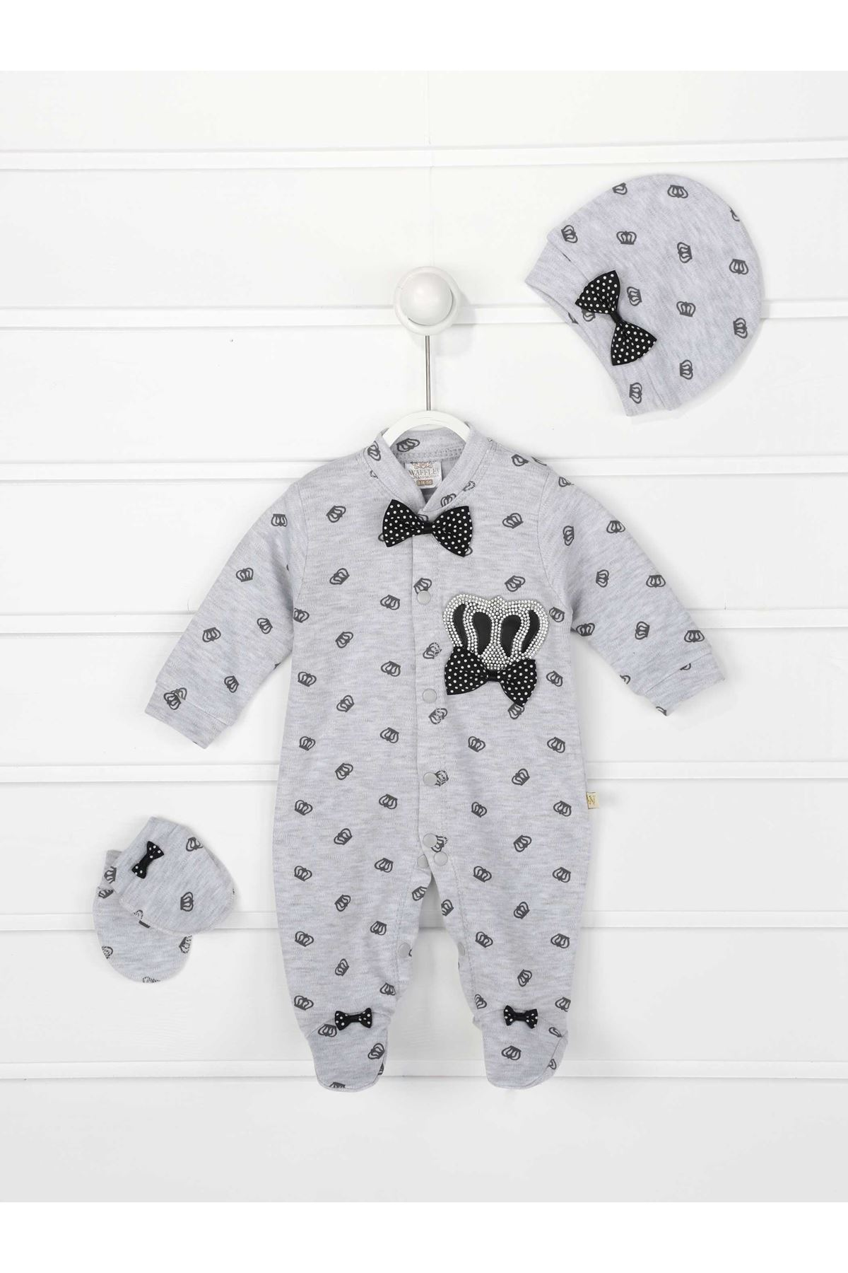 Gray King Crowned Male Baby 3 PCs Rompers