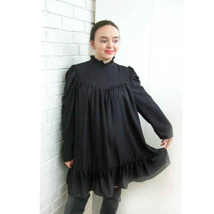 Hot 2019 autumn new fashion women's temperament commuter puff sleeve small high collar natural A word knee Chiffon dress reviews №3 342828