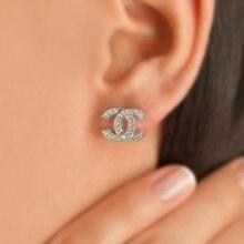 Boucles d'oreilles en argent 925 pour femmes, Double C, haute qualité, Design créatif, élégant