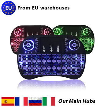 2020 3 Colors Backlit i8 Mini Wireless Keyboard 2.4ghz English Russian 3 Colour Air Mouse with Touchpad Remote Control Android. t2 c wireless russian keyboard with multimedia remote control flying mouse keyboard 2 4ghz usb rechargeable android remote contr