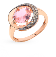 Gold ring with cognac diamonds and morganite sunlight sample 585 test