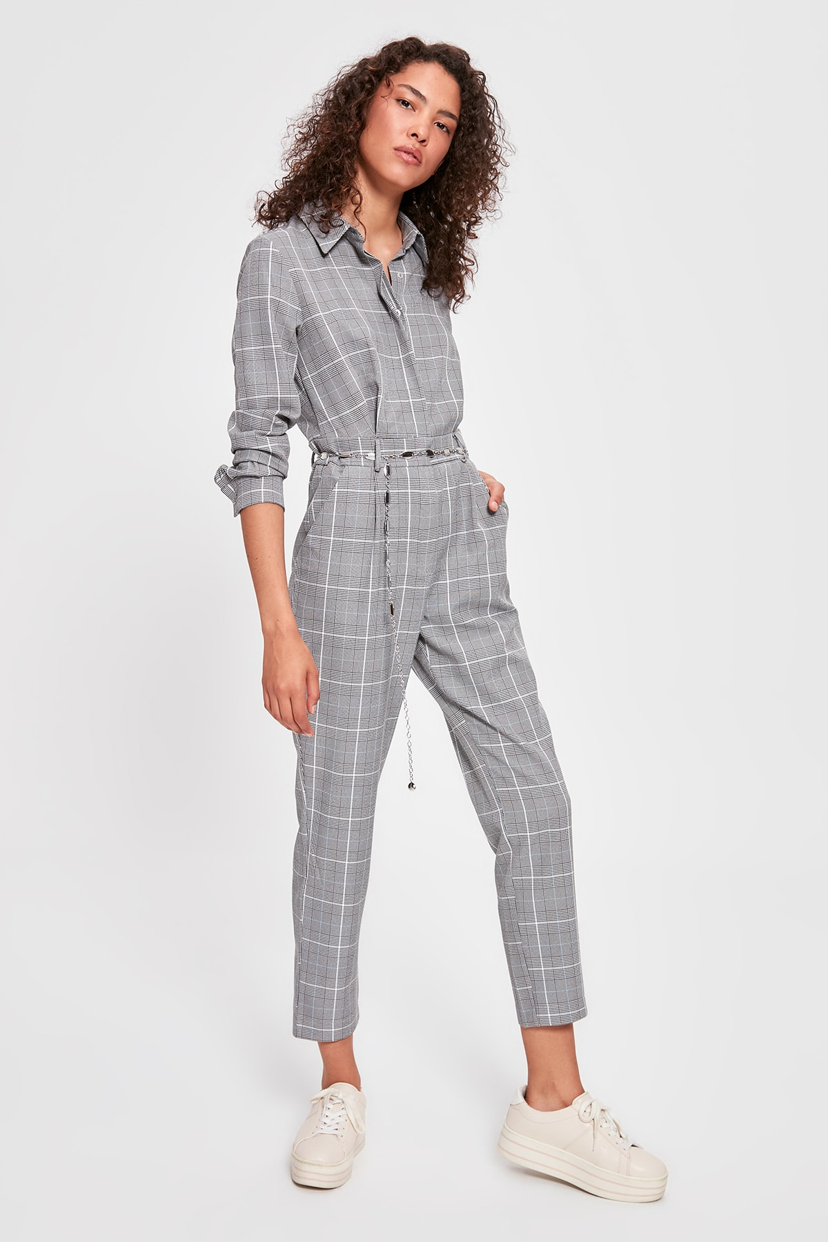Trendyol Belted Plaid Jumpsuit TWOAW20TU0025