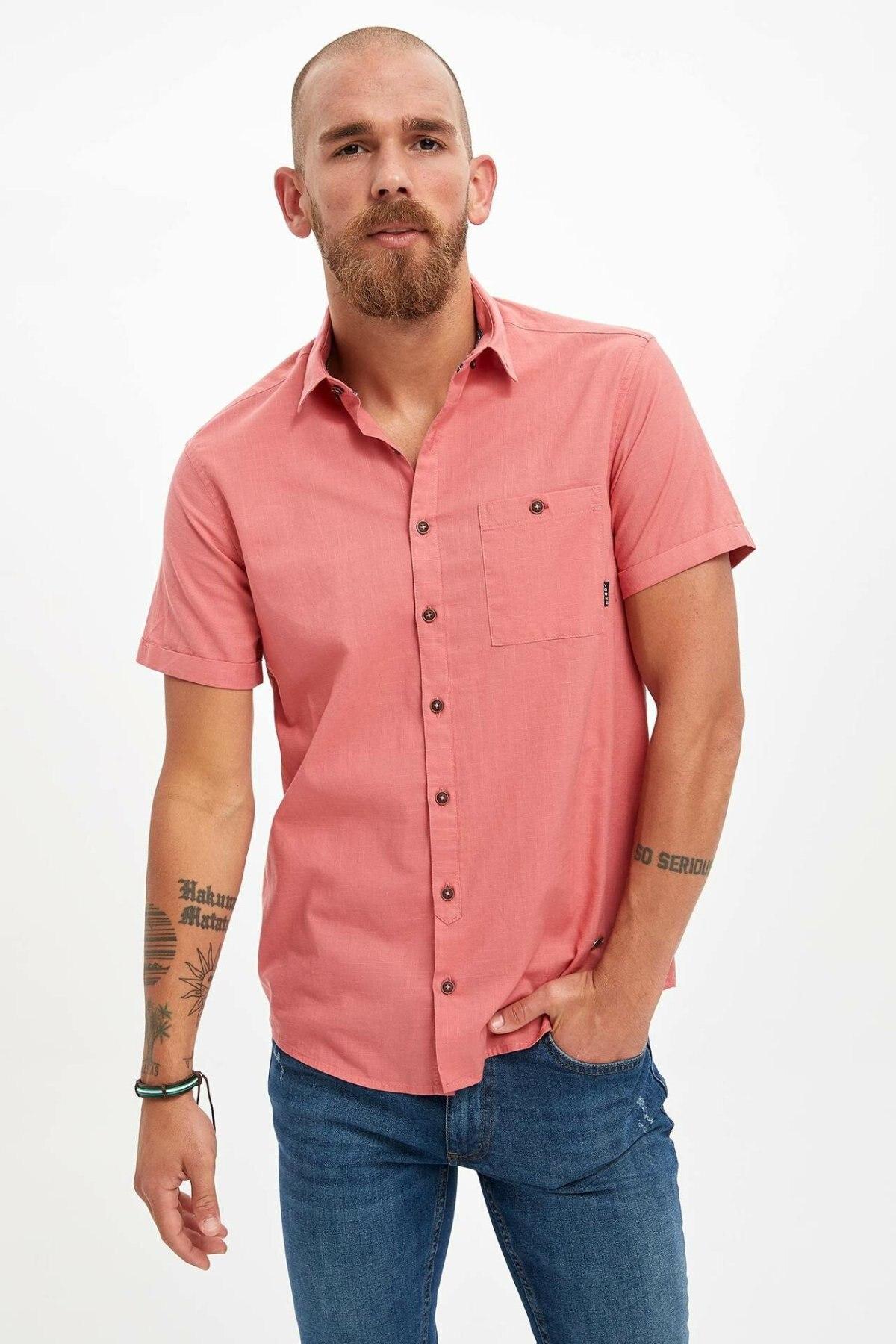 DeFacto Men Blue Pocket Simple Shirts Short Sleeve Casual Shirts Men Fashion Lapel Collar Shirt  - M3455AZ19SM