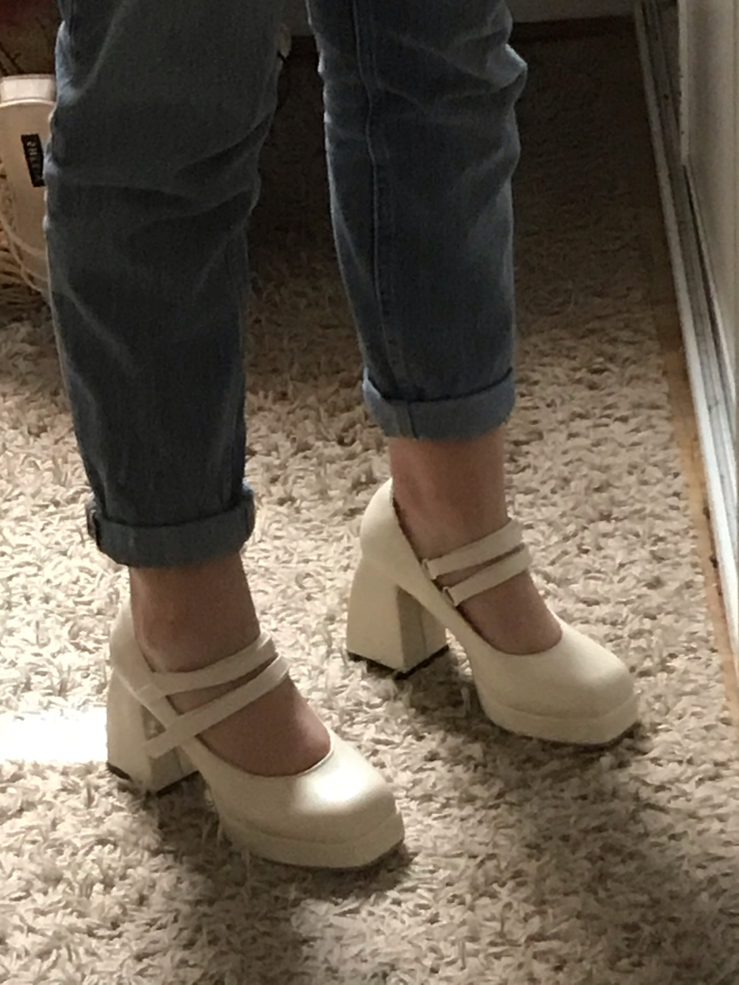 Mary Jane Women Single Chunky Block High Heels photo review