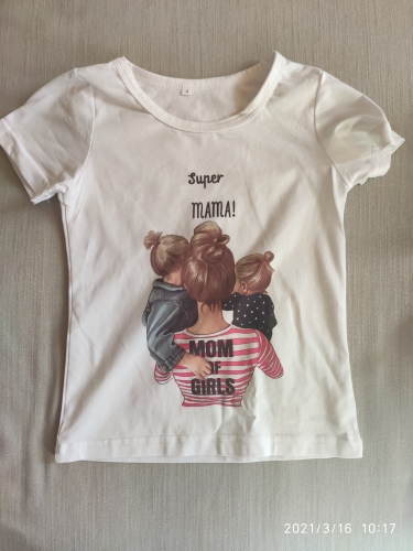 ZZSYKD Summer Super Mom Baby Girl Tshirt Vogue Boys T Shirts Mother And Baby Love Life Lovely Printing Kawaii Kids T Shirt Cozy photo review