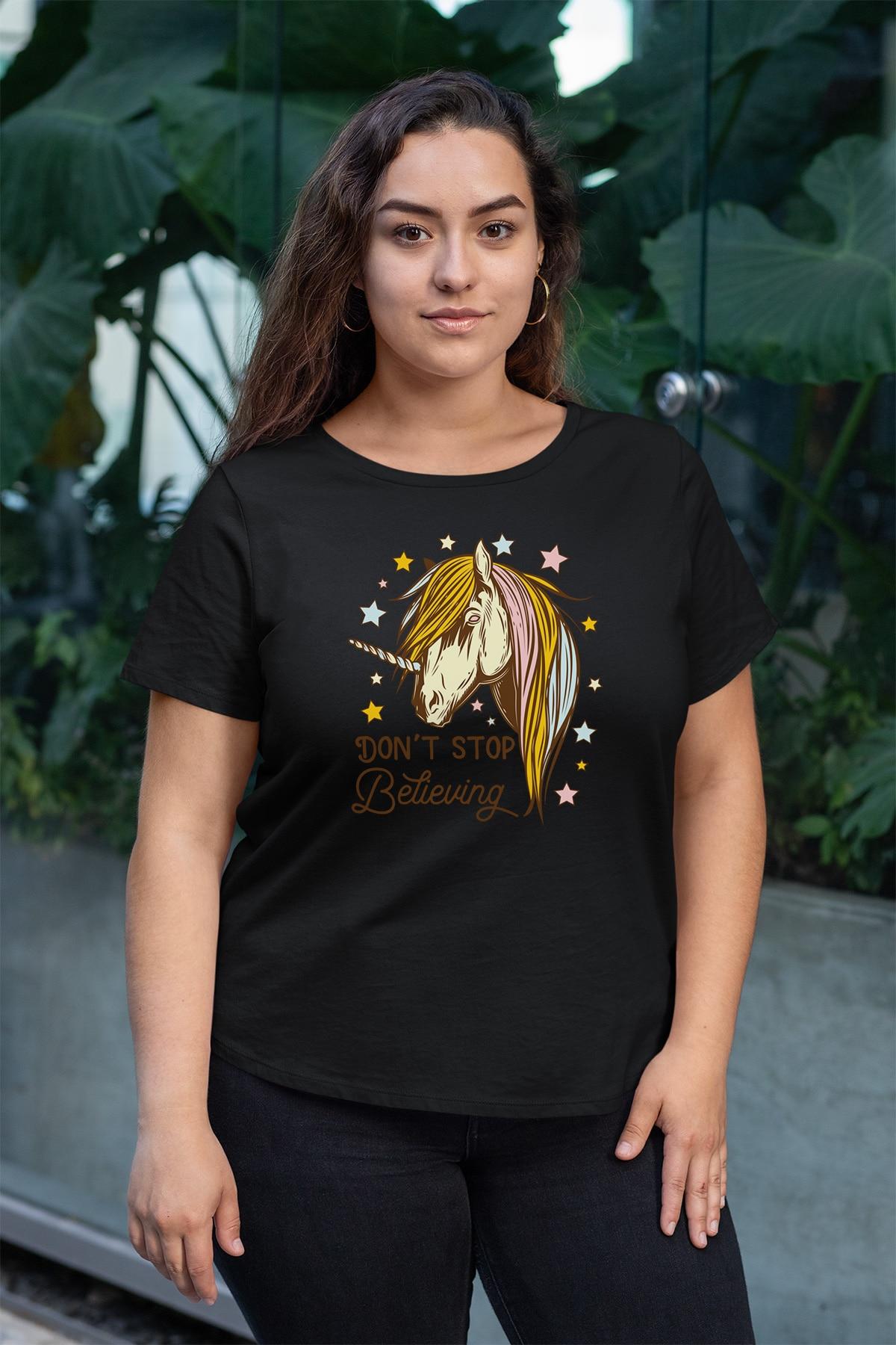 Angemiel Wear Unicorn Black Women Cotton Large Size T-Shirt