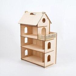 Casa de muñecas Diy miniatura 3D Miniaturas de madera Casa de muñecas juguetes para niños regalos de cumpleaños Casa gatito diario 000-674