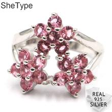 18x18mm Elegant Flower Shape 4.7g Created Pink  Tourmaline Gift For Sister 925 Solid Sterling Silver Rings