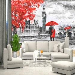 3D mural londres figure angleterre, noir et blanc papier peint, papier peint pour hall, cuisine, chambres, mur mural espace en expansion