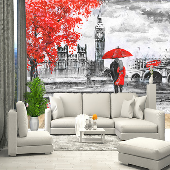 3D wall mural London figure England, black and white wallpaper, wallpaper for hall, kitchen, bedrooms, wall mural expanding space