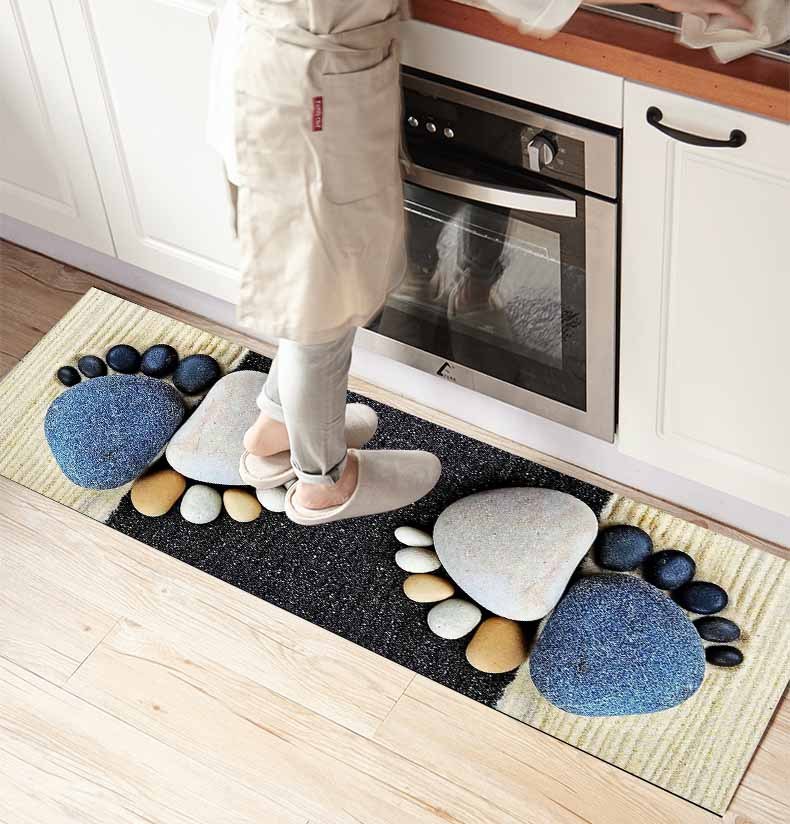 Else Blue White Pebble Stones 3d Print Non Slip Microfiber Kitchen Counter Modern Decorative Washable Area Rug Mat
