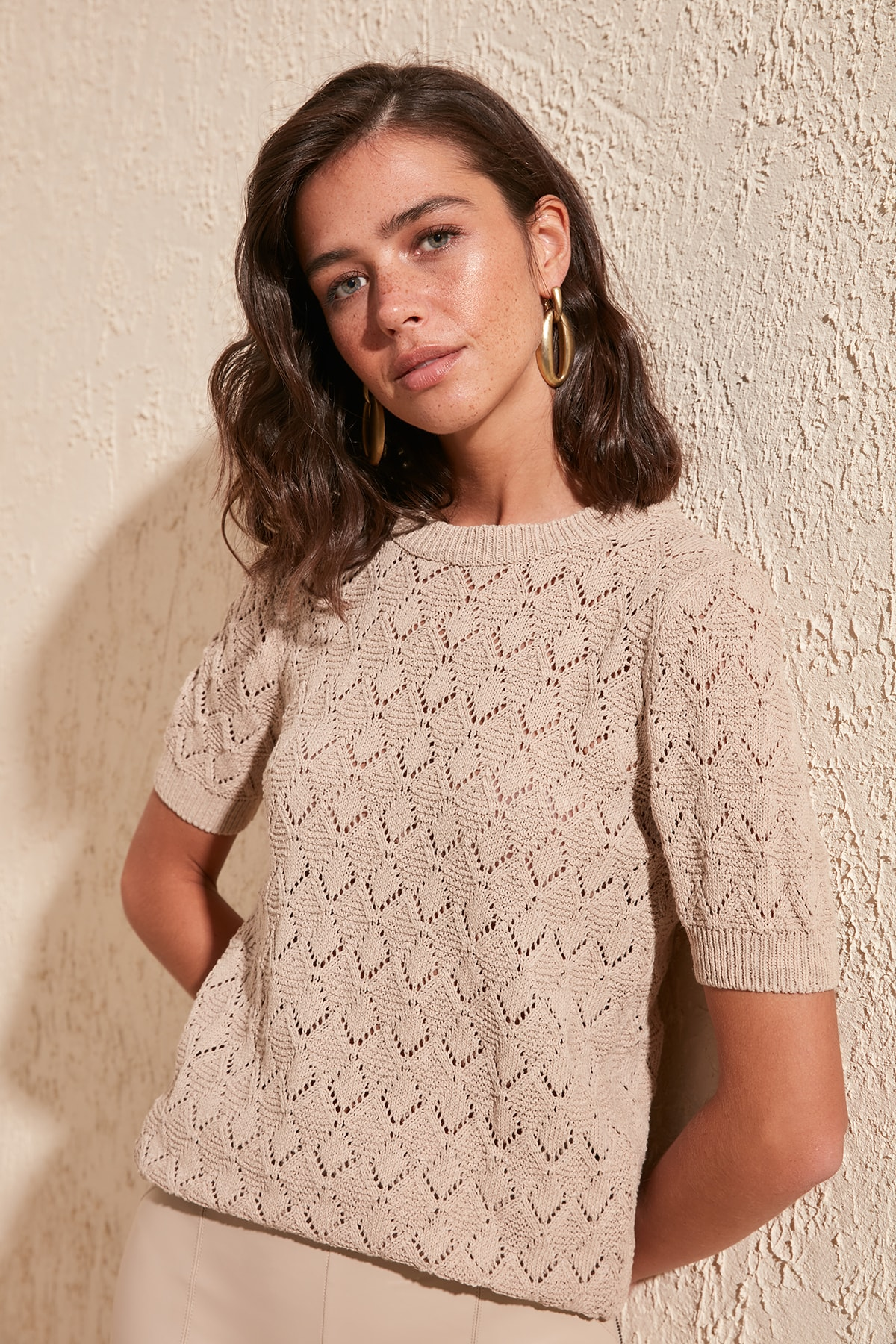 Trendyol Cellular Knitwear Sweater TWOSS20KZ0048
