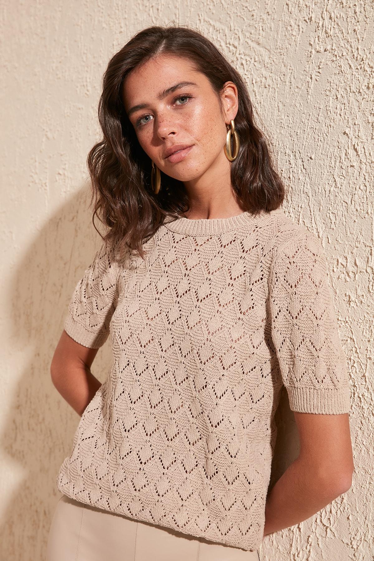 Trendyol Cellular Knitwear Sweater TWOSS20KZ0048