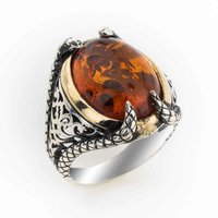 925 sterling Silver Amber Gemstone Clawed Ring