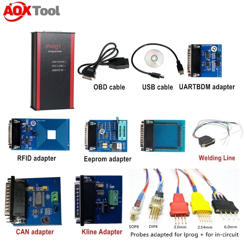 Latest Version Iprog+ Iprog Pro with IR MB Adapter for Odometer Correction Mileage Adjustment Car Key Programmer Airbag Reset