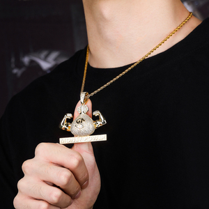 Image 5 - TOPGRILLZ Iced Out US Dollar Money Power Pendant Necklace & Pendant Free Cuban Chain Cubic Zircon Mens Hip Hop Rock  Jewelry