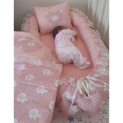 Jaju Baby Elephant Patterned Luxury Orthopedic Baby Bedding Babynest 3 Piece Set Baby Bed Nest Set Crib Bedding Set Bed Linen