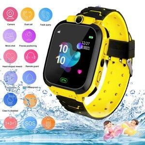Image 1 - 2020 kids smart watch Waterproof baby SOS Positioning 2G SIM Card Anti lost Smartwatch children Tracker smart clock Call watch