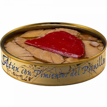 Tuna Ventresca can with Piquillo pepper in olive oil 280 grams | Fish preserves El Ronqueo | Gourmet